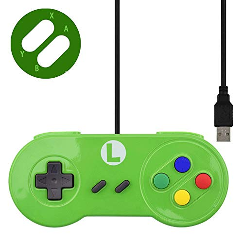 Aiyoudemutou Gamepad Controlador de Juegos con Cable Retro Estilo clásico Ordenador anfitrión Juego Juego de Controladores Auxiliar Controlador Gamepad (Color : Green)