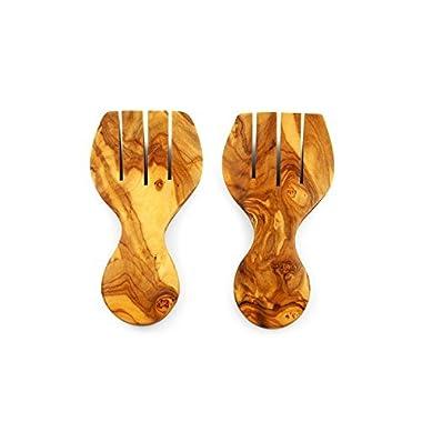 Thirteen Chefs Tramanto Olive Wood Salad Hands - Beautiful Hand Carved Salad Servers Set