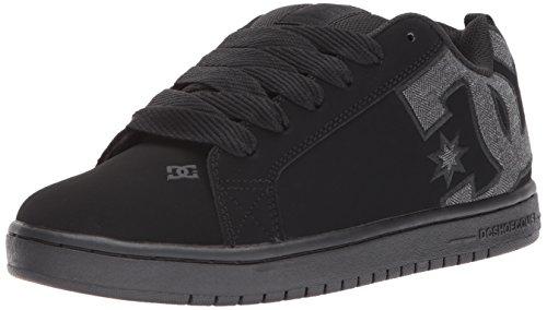 DC Men s Court Graffik Casual Skate Shoe  Black/Heather Grey SE  10.5D D US