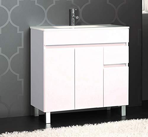 Mueble de baño con Lavabo de Porcelana - 3 Puertas y 1 Cajón amortiguado - El Mueble va MONTADO - Modelo Clif (80 cms, Blanco)