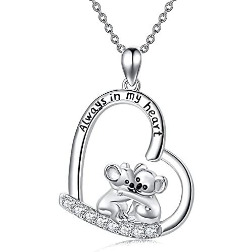 LONAGO Koala Collar de plata de ley 925 con colgante de oso koala de la amistad para las mujeres