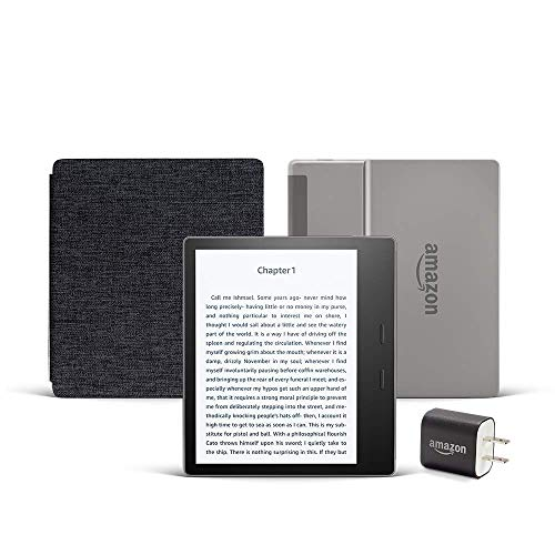 Kindle Oasis Essentials Bundle including Kindle Oasis (Graphite, Ad-Supported), Amazon Fabric Cover, and Power Adapter. Buy it now for 279.97