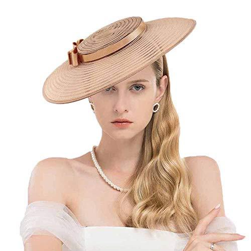 F FADVES Fascinators for Women Elegant Wide Brim Kentucky Derby Church Wedding Hat Light Brown