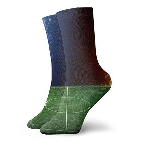 Calcetines de fútbol con fuego y agua para adultos, cálidos, multirendimiento, para adultos, calcetines cortos de trabajo, unisex