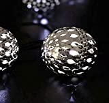 Maroc Boule Solaire Lumière Chaîne De Fer Boule En Plein Air Jardin Chaud Cour Étanche 20LED Blanc 2 Mode