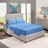 """Folhas Nestlé cama macia Set - 4 Piece Folha de cama Set, 3-Line Projeto Fronhas - O enrugamento livra - 8"""" -12"""" lençol de baixo perfil - RV Rainha Curto, calma azul"""