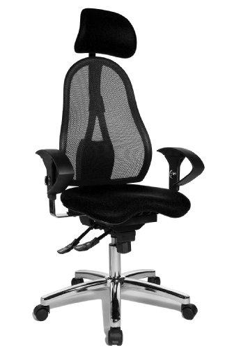 Topstar Sitness 45, Fitness-Drehstuhl, Bürostuhl, Schreibtischstuhl, inklusive höhenverstellbare Armlehnen und Kopfstütze, schwarz