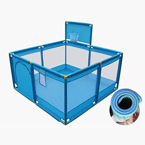 Vitila 22 sq ft AzulParques Infantil con Malla Transpirable,4 Piezas Parque para Bebes para Casa para 2-6 Edades