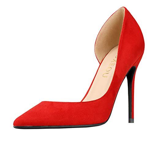 GOXEOU Damen Pumps Wildleder Spitze Zehen Stiletto Absatz High Heels D'Orsay Kleid Pumps Schuhe Stilettos, Rot - Rot 3 9 Zoll Absatz - Größe: 42 EU