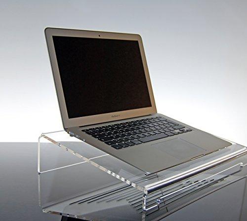 Supporto ventilato per Computer Portatile Notebook in plexiglass Trasparente Giano per MacBook PRO, Air, Lenovo, Laptop