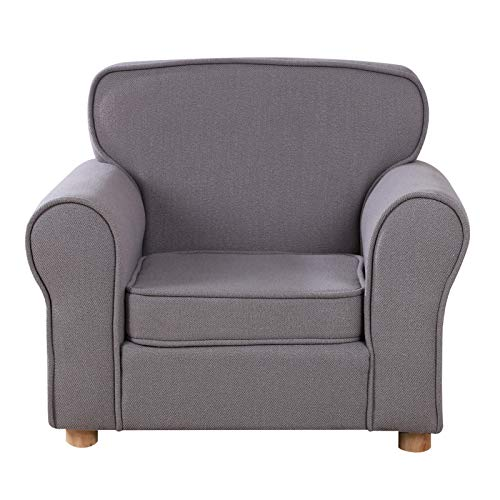 Babyland Big Kids Armchair,Linen Fabric Sofa Chair with Adjustable Wood Feet for Children 0-6 (Gray)