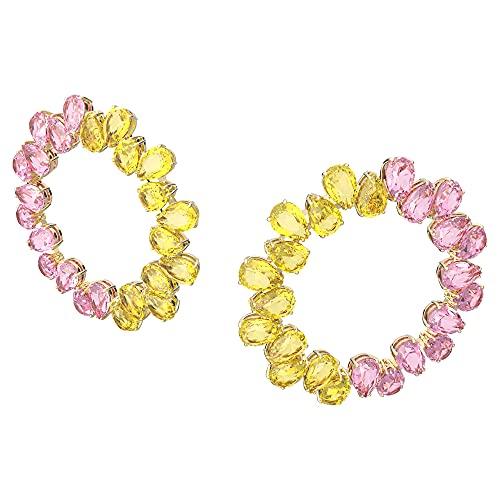 Swarovski Pendientes de aro Millenia, cristales de corte pera, multicolor, chapado en tono dorado