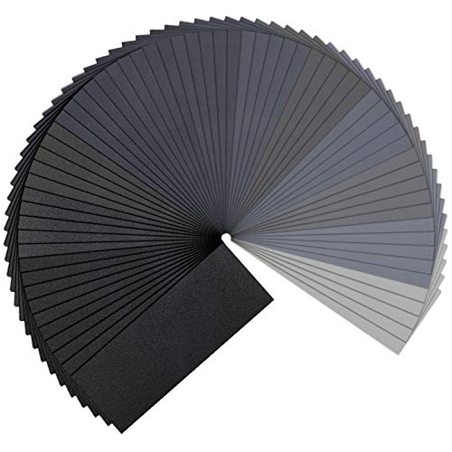 65pcs Wet Dry Sandpaper 120 to 3000 Assorted Grit Sand Paper, 9 x 3.6 Inches Sander Sheets For Metal Wood Furniture Finishing, Metal Sanding And Car Polishing