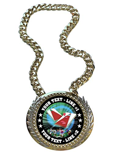 Express Medals Metal Version Bag Toss Cornhole Champ Chain Trophy with 2 Lines of Personalized Custom Text on a Large Championship Award Medal and Attached 34 inch Long Metal Neck Chain. MY469