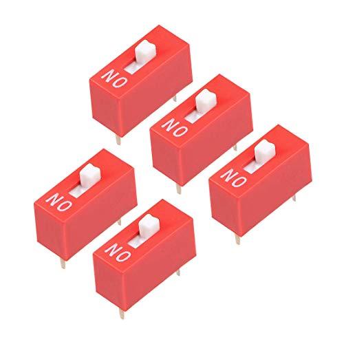 DyniLao 5 piezas rojo interruptor DIP 1 posiciones para placas de circuito PCB