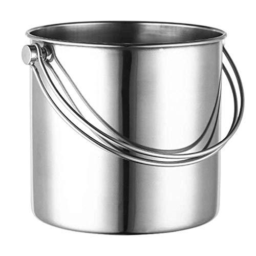 CHJZHXD BTCHFJB - Cubo de hielo con tapa y asa, acero inoxidable (tamaño pequeño)