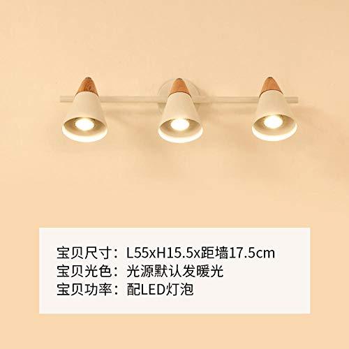 NZJSY Modern Kreative Wandleuchte Nordic IKEA spiegel scheinwerfer badezimmerspiegel schrank wandleuchte einfache moderne schminktisch make-up lampe badezimmerspiegel lampe -2707-3 (senden G10 birne)