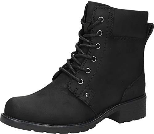 Clarks Damen Orinoco Spice Kurzschaft Stiefel, Schwarz (Black Leather), 39 EU