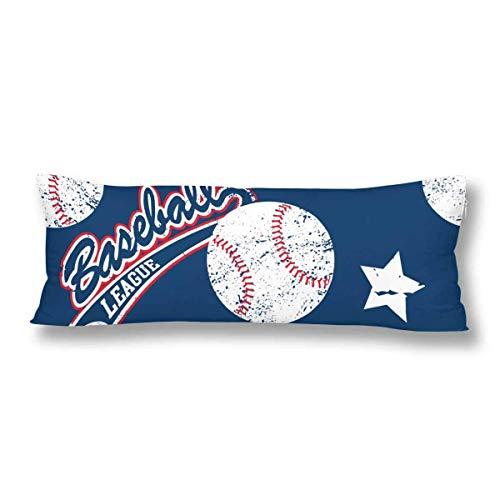 CiCiDi Seitenschläferkissen Kissen-Bezug 40x145 cm Baseball und Stars Atmungsaktives Kissenhüllen mit Reißverschluss Baumwollen und Polyester