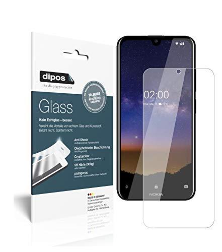 dipos I 2X Panzerfolie klar kompatibel mit Nokia 2.2 Schutzfolie 9H Bildschirmschutz-Folie (bewusst Kleiner als das Glas, da Dieses gewölbt ist)