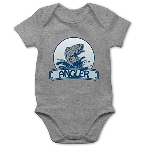 Sport Baby - Angler Button - 1/3 Monate - Grau meliert - Angler Body - BZ10 - Baby Body Kurzarm für Jungen und Mädchen