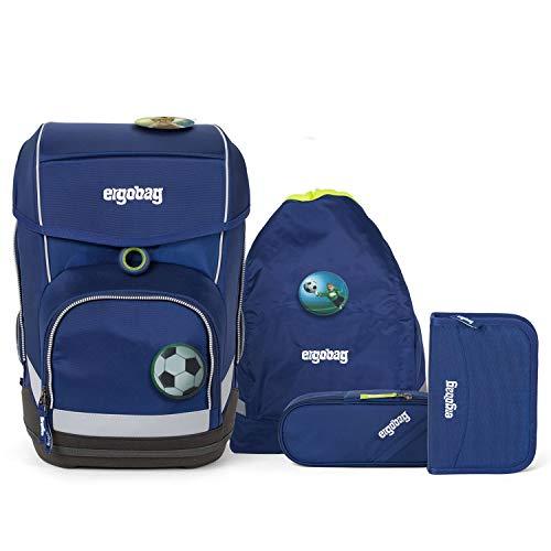 Ergobag Cubo Schulranzen Set 5-teilig BlaulichtBär mit Wunschkletties für Jungen (Fussball)
