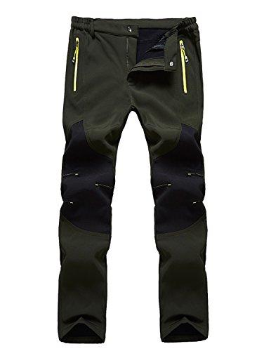 Freiesoldaten Herren Outdoor-Cargohose, winddicht, wasserdicht, Softshell-Hose, dick, grün, 5XL: Taille 96-99,8 cm