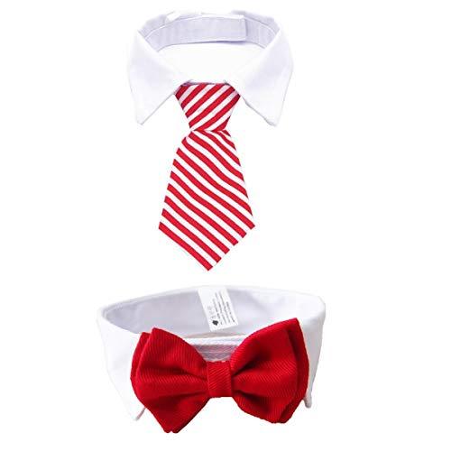 MOREFUN - Corbata Ajustable de 2 Piezas para Perros pequeños, Cachorros, Gatos y Mascotas (Corbata de Pajarita + Corbata de Rayas para el Cuello), Boys(Black&Blue), Small