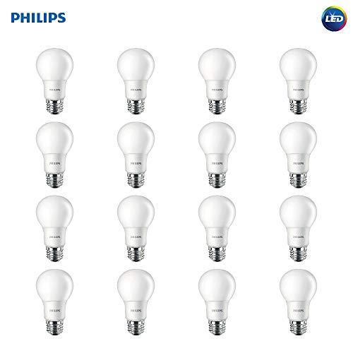 Philips LED Non-Dimmable A19 Frosted Light Bulb: 800-Lumen, 5000-Kelvin, 9-Watt (60-Watt Equivalent), E26 Base, Daylight, 16-Pack