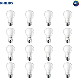 Philips LED Non-Dimmable A19 Frosted Light Bulb: 800-Lumen, 2700-Kelvin, 8.5-Watt (60-Watt Equivalent), E26 Base, Soft White, 16-Pack