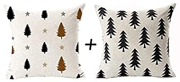 QINU KEONU Set of 2 Modern Geometric Forest Tree Pine Square Cotton Linen Throw Pillow Case Cushion Cover Outdoor Couch Home Sofa Decorative 18 X 18 Inch  42