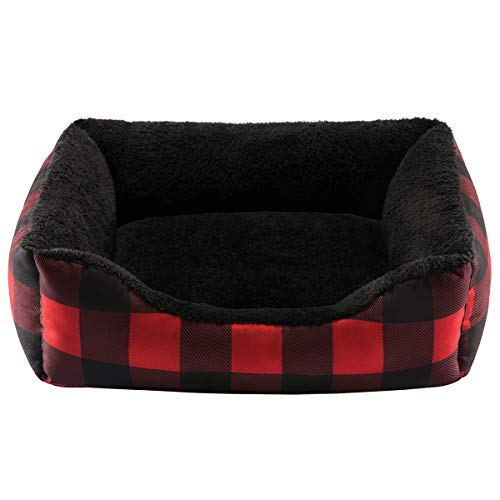 Hollypet Printed Flannel Rectangle Plush Dog Cat Bed Self-Warming Pet Bed, Red Checked