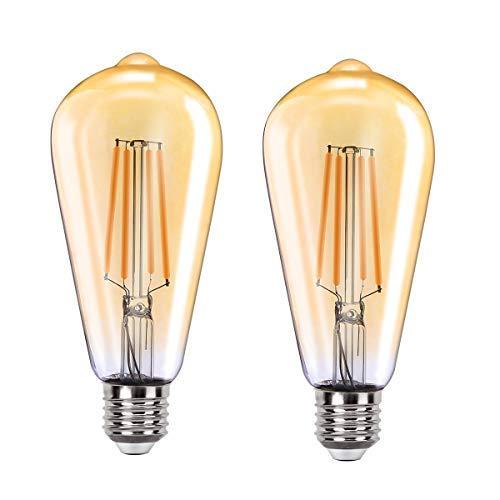 MoKo Smart WLAN Edison Glühbirne, E27 7.5W WiFi Vintage Birne Dimmbar LED Lampe Glühlampe, Retro Glühbirnen Kompatibel mit Alexa Echo Google Home, Warmweiß Licht Sprach/Fernsteuerung Timer, 2 Pack
