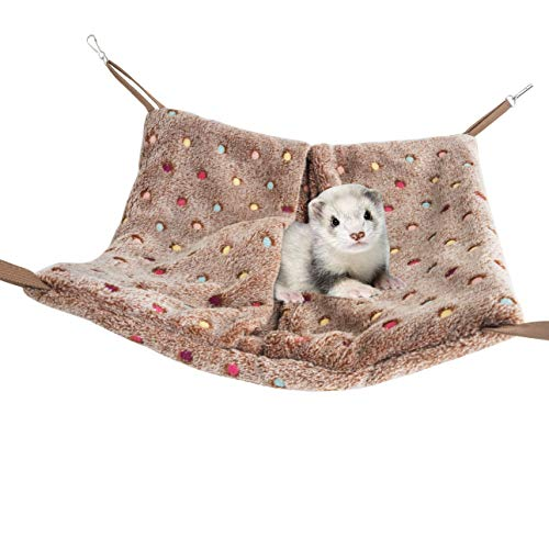Niteangel Hanging Hammock Nap Sack Swing Bag Pet Sleeper for Ferret Rat Sugar Glider and Other Small Animals (Brown, Polka-dot)
