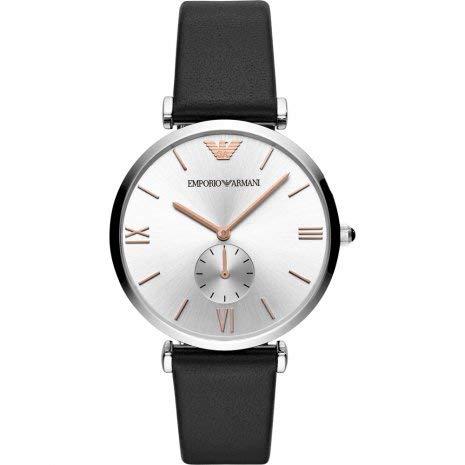 Reloj de Hombre Emporio Armani con Correa de Cuero Negra y Esfera Plat
