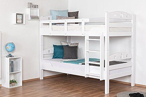 Etagenbett für Erwachsene Easy Premium Line  K11 n 1, Kopf- und Fu il mit L ern, Buche Vollholz massiv Weiß- 90 x 190cm   (B x L), teilbar