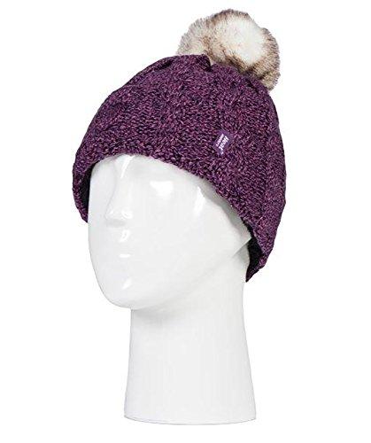 HEAT HOLDERS - Ladies Warm Knit Fleece Lined Cuffed Thermal Winter Bobble Hat with Pom Pom (One Size, Purple)