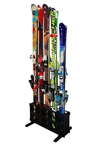 StoreYourBoard Ski Storage Rack, Freestanding 5 Pair Skis Floor Rack, Standard Skis