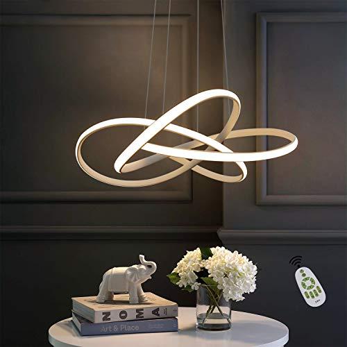 ZMH LED Pendelleuchte Esstisch in Weiß Moderne Hängelampe Ø62cm Ringe Kronleuchter Wohnzimmer 68W Dimmbar mit Fernbedienung Höhe Einstellbar Innen Beleuchtung Pendant Lamp Restaurant Schlafzimmer
