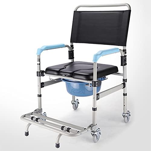 WLL-DP Silla con Inodoro Plegable De Aleación De Aluminio, Silla De Inodoro Móvil Antideslizante, Inodoro Lateral De Cama Ajustable, para Ancianas Discapacitadas