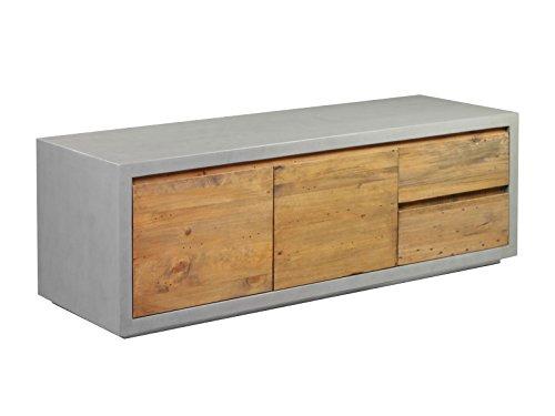 Woodkings® TV Bank Burnham, Lowboard aus recyceltem Pinien Holz rustikal, Beton - Optik, Landhausstil, TV-Regal, TV Unterschrank, TV Board, Fernsehbank, Fernsehtisch, Loft & Wohnzimmer Möbel (Grau)