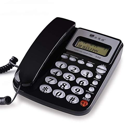 qwertyuio Teléfono Antiguo con Cable con Bloqueador De Llamadas Teléfono con Cable con Altavoz, Pantalla, Calculadora Básica E Identificador De Llamadas, Color Negro
