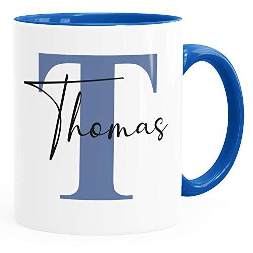 SpecialMe® Namenstasse personalisierte Kaffee-Tasse mit Namen und Buchstabe persönliche Geschenke Buchstabentasse Inner blau weiß-blau Keramik-Tasse