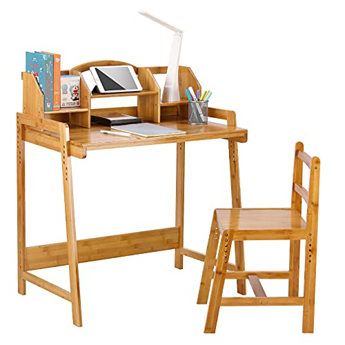 LAZY BUDDY Adjustable Bamboo Kids Desk and Chair Set, Student Table with Built-in Storage Shelf, Wide Desktop, Ergonomic Children Bedroom Study Furniture for Age 3-15 Years Old Boys & Girls