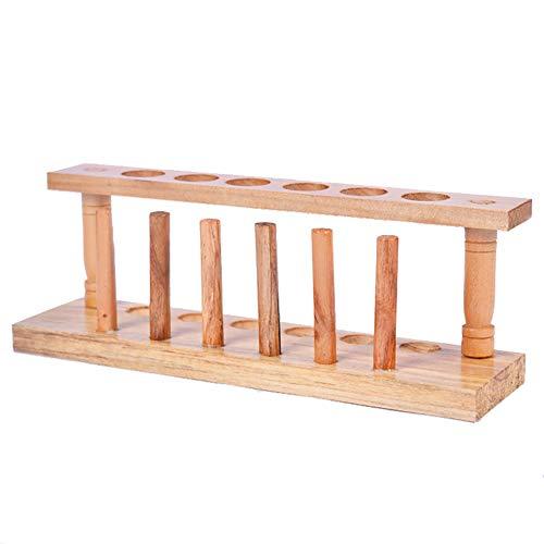 KOET Test Tube Rack Stand, 6 Slots Wooden Burette Test Tube Holder with Stand Sticks Rack Shelf, Holes Measuring 21 mm Lab Tube Racks Pen Holder