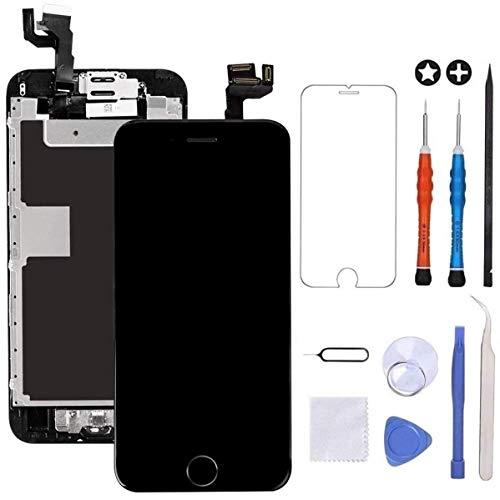 Brinonac Für iPhone 6s Display LCD Touchscreen Kompletter Ersatz Bildschirm Vorinstallierte Frontkamera Hörmuschel Lautsprecher Näherungssensor mit Werkzeug (Schwarz)