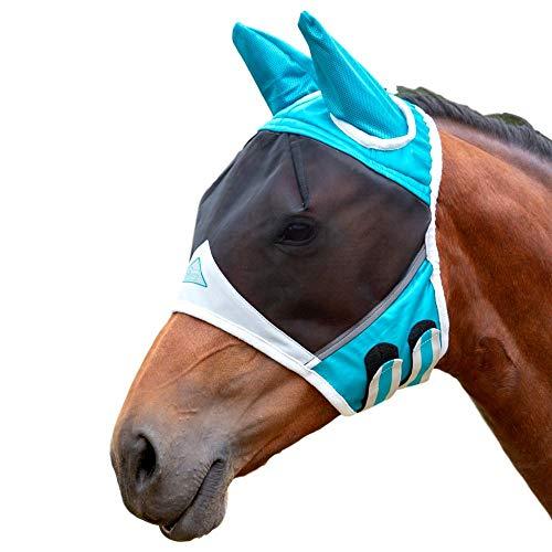 Shires Fliegenmaske mit Ohren, feines Netzgewebe, Schwarz, Unisex, blaugrün, S Pony