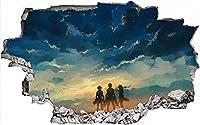 3D アニメ Attack on Titan 墙贴進撃の巨人 角色乙烯基墙贴 男孩游戏机装饰进击的巨人轮廓壁画 60X90CM-B_40*60CM