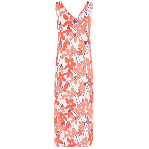 LeeMon Kleid Damen Blumen Split Kleid? LeeMon Frauen Sommermode Blumendruck Split Kleid mit V-Ausschnitt langes Kleid