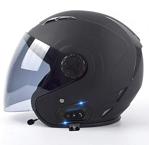 ZhangHai Casco Moto Bluetooth Abierto Retro Jet Half Modulares Moto Cascos Helmet para Mujer Y Hombre Confortable Casco Moto para Street Bike Cruiser Chopper Moped Scooter ECE Homologado